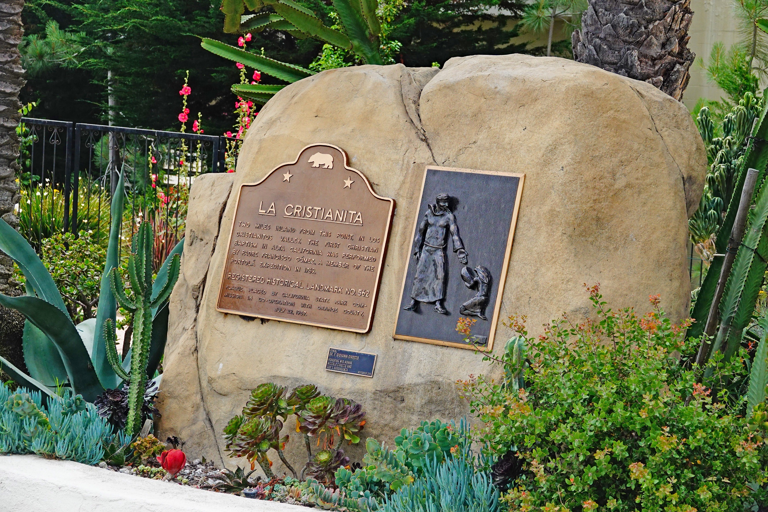 A state historical marker on display at San Clemente's Casa Romantica Cultural Center and Gardens relates how a valley two miles inland was the site of California's first Christian baptism in 1769. Photo: Fred Swegles