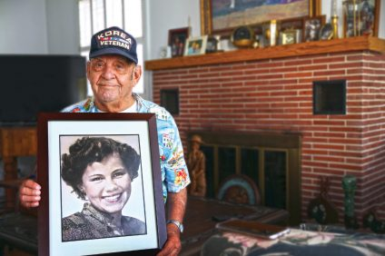 """Joseph """"Joe"""" Llamas, who will turn 90 in August, is recognized by the city as the first baby boy documented to be born in San Clemente. Photos: Adam Gilles"""