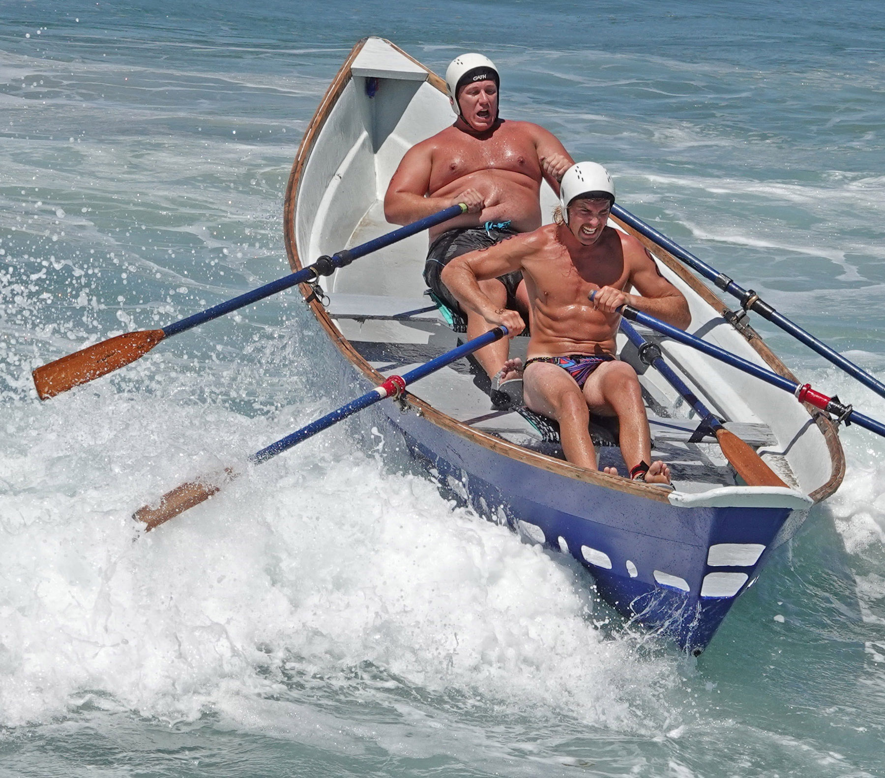 Trevor Milosch, left, and John Chetwynd rowed the city of San Clemente's dory at this year's San Clemente Ocean Festival. Photo: Fred Swegles