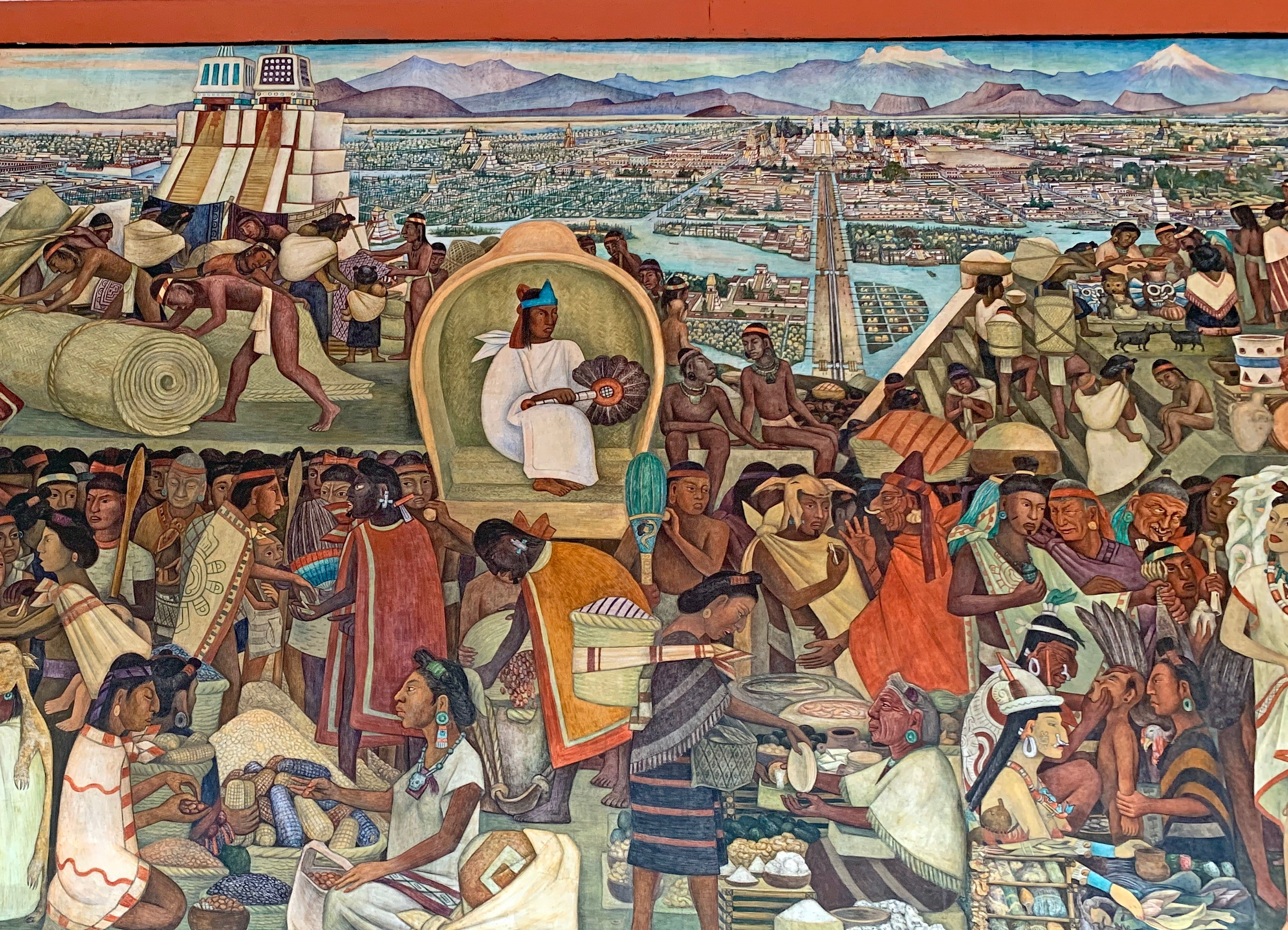 One of Diego Rivera's murals in Mexico City's national palace depicts the scene that Spanish Conquistador Hernan Cortes might have beheld as he approached Montezuma's city of Tenochtitlan. Photo: Fred Swegles