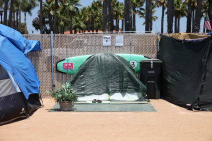 Homeless residents were asked to remove all of their belongings from the city's Avenida Pico campground on Thursday, July 25, for temporary maintenance and cleaning at the site. Photo: Adam Gilles