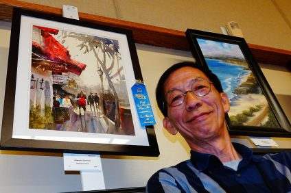 """Paint San Clemente: Hermann Chen of Alhambra earned first place in San Clemente Art Association's 2019 Paint San Clemente competition with his watercolor—titled """"Afternoon Tea Time,"""" depicting a downtown sidewalk scene. Photo: Fred Swegles"""