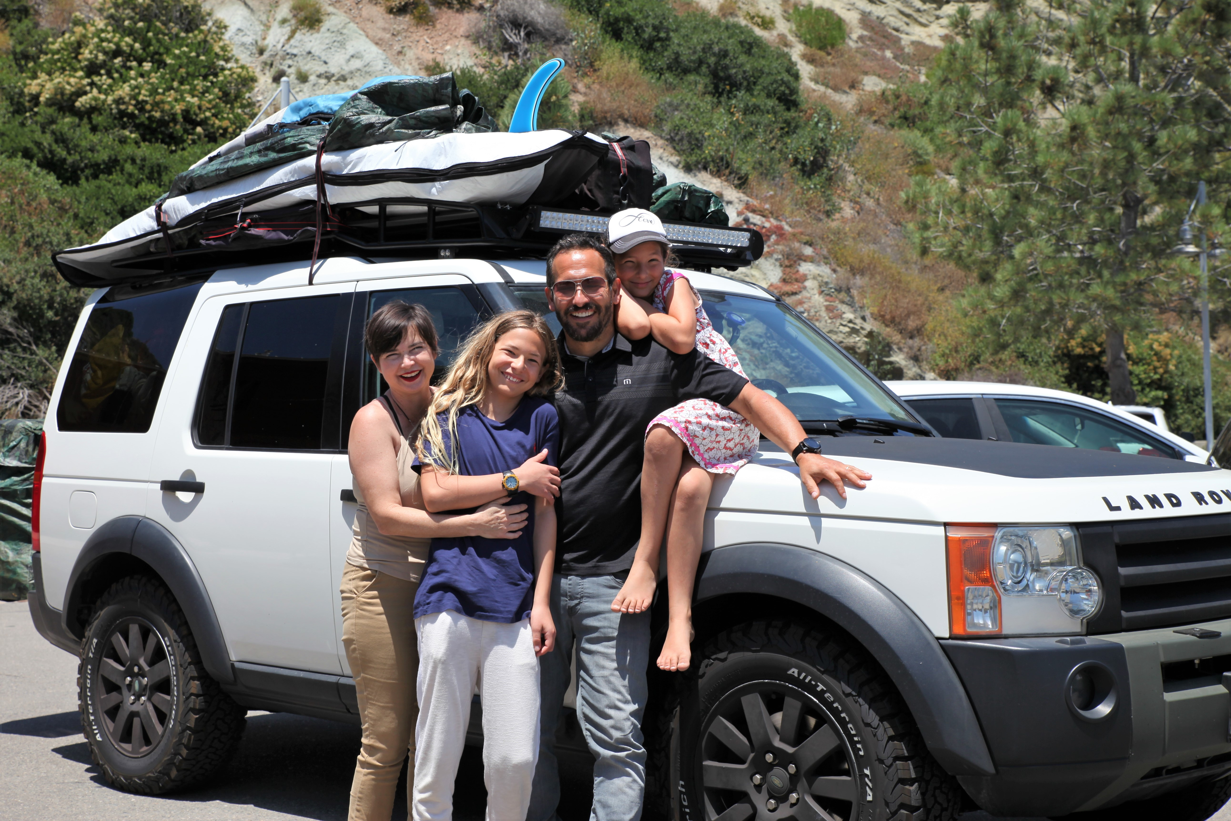 The Paskowitz family: Tracey, Doc, Adam and Ffanci prepare for another adventure. Photo: Adam Gilles