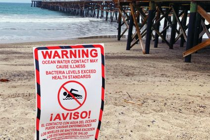 This bathing advisory sign greeted morning visitors arriving at the San Clemente Pier on the 3rd of July. Photo: Fred Swegles
