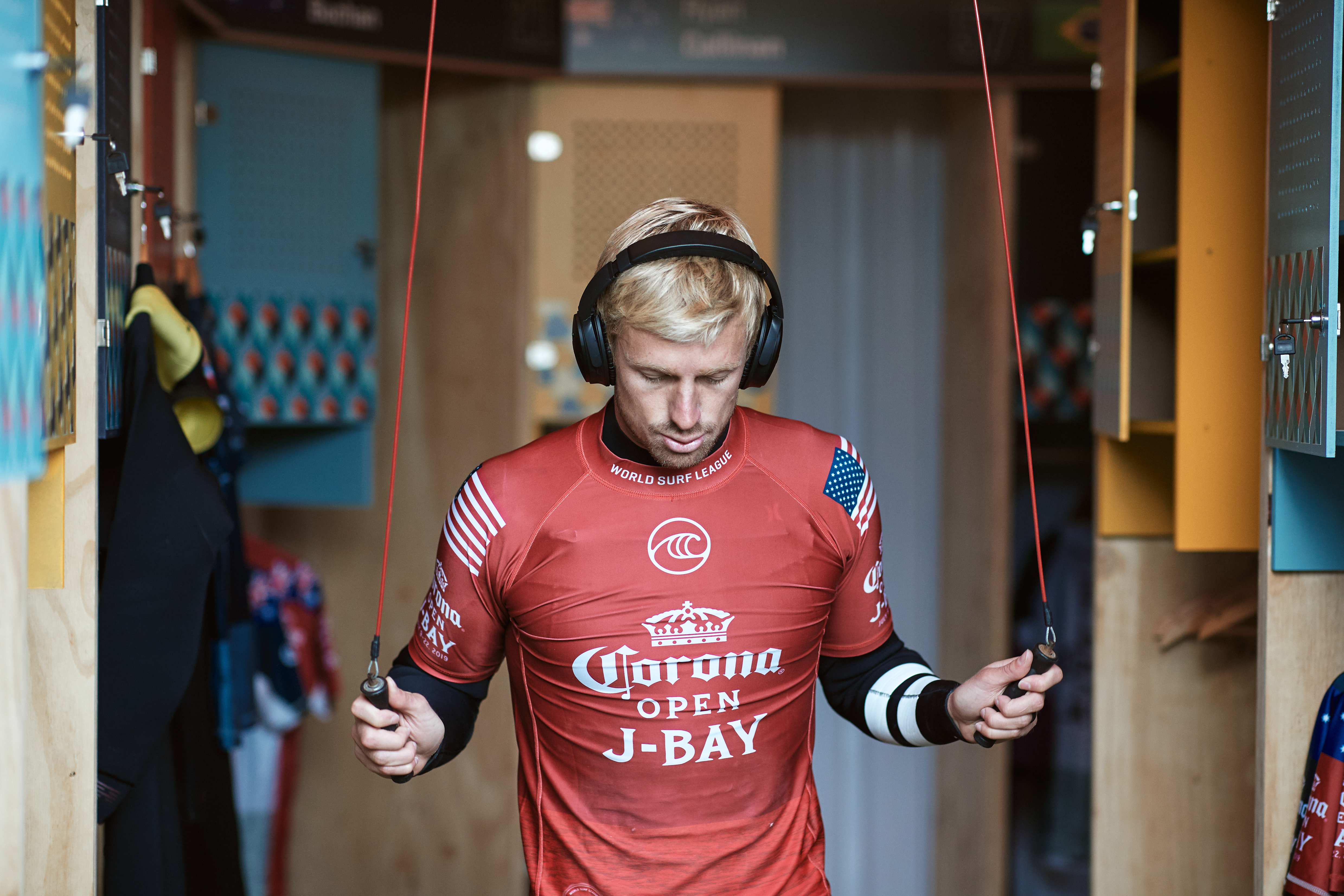 JEFFREYS BAY, SOUTH AFRICA - JULY 17: Kolohe Andino of the United States advances to the quarter finals of the 2019 Corona Open J-Bay after winning Heat 3 of Round 4 at Supertubes on July 17, 2019 in Jeffreys Bay, South Africa. (Photo by Ed Sloane/WSL via Getty Images)