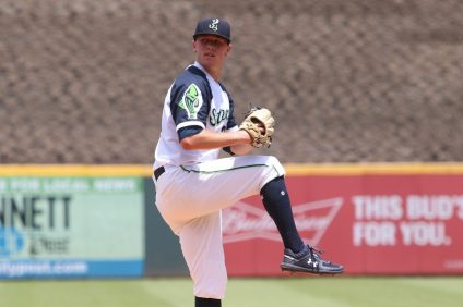Kolby Allard is the No. 8 prospect for the Atlanta Braves and currently throws for the AAA Gwinnett Stripers. Allard made his MLB debut with the Atlanta Braves last season. Photo: Matthew Caldwell/Gwinnett Stripers