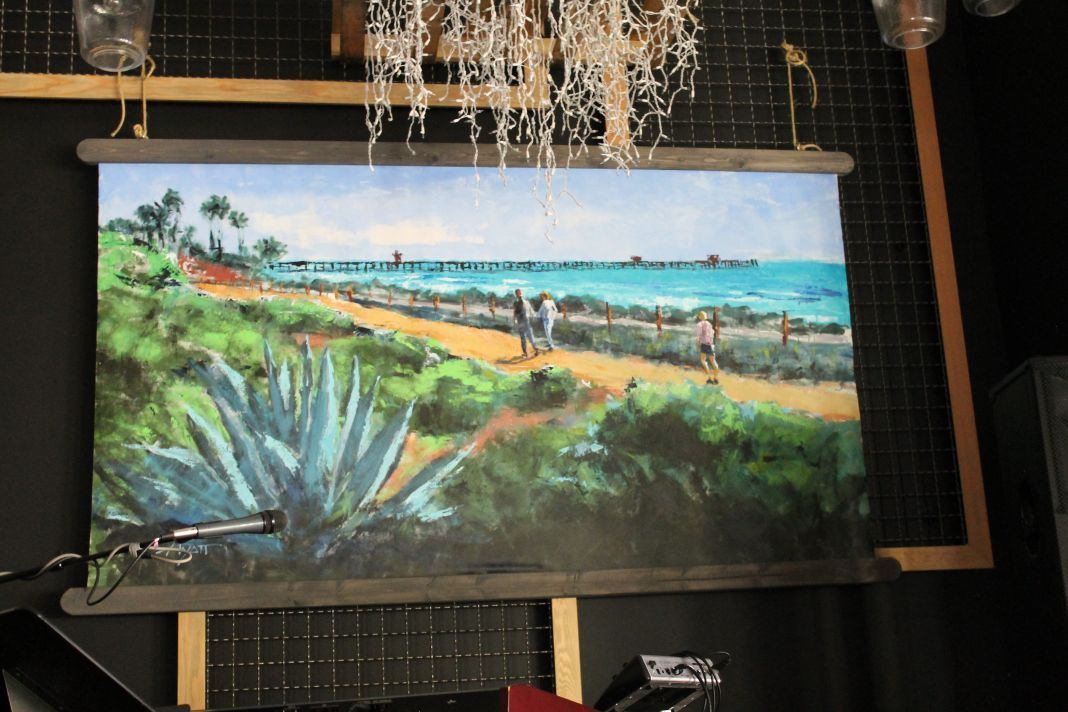 A painting is unscathed after a driver plowed her car into a San Clemente church. Photo: Cari Hachmann