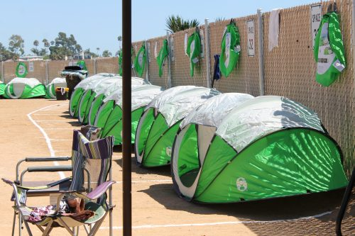 The city of San Clemente has installed new tents that homeless campers are now required to stay in at its designated campsite on Avenida Pico. Campers must also prove they are San Clemente residents. Photo: Cari Hachmann
