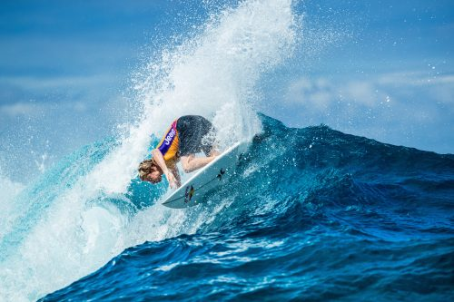 Kolohe Andino hammering his way through the opening round of the Tahiti Pro last week. Photo: Cestari/WSL