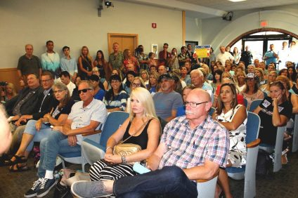 Residents packed San Clemente City Council's meeting on Tuesday, Aug. 20, to speak on the city's lease proposal for a temporary homeless shelter. Photo: Cari Hachmann