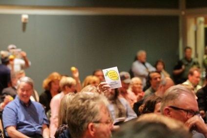 The Nuclear Regulatory Commission held a town hall meeting in San Juan Capistrano a year after a canister mishap at San Onofre Nuclear Generating Station. Photo: Shawn Raymundo